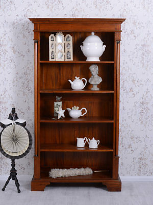 Nostalgie Bücherregal Standregal Mahagoniholz Empire Regal Säulen Schrank