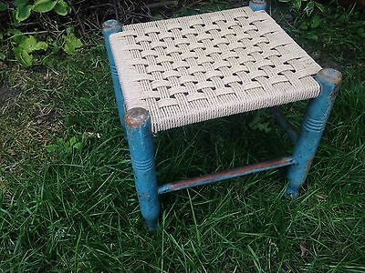 STUNNING FRENCH RUSTIC PAINTED BLUE WOODEN WOVEN SEAT STOOL 13 x 12 x 11""