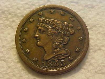 1853 BRAIDED HAIR  Half Cent  High AU Original Surfaces Gorgeous Coin