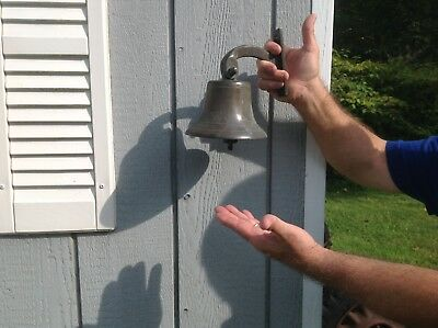 Vintage 1900s Large Brass Or Bronze Farm House Bell With Mount Bracket Original