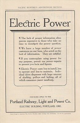 1911 Portland Railway Light & Power Co Portland OR Ad: Electric Power Costs Less