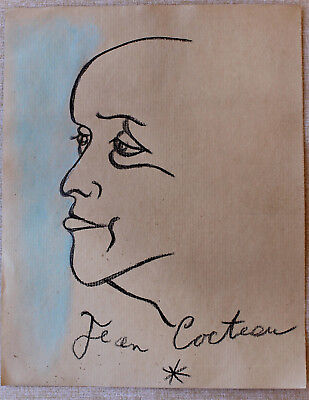 Pencil drawing signed JEAN COCTEAU