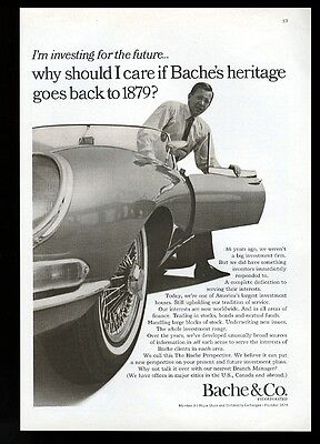 1966 Jaguar XKE XK-E roadster convertible car photo Bache & Co vintage print ad