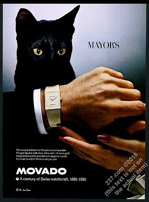 1981 black cat photo Movado 9-ligne quartz man's watch vintage print ad