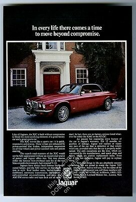 1976 Jaguar XJC red coupe car photo vintage print ad