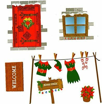Elf House Wall Stickers Christmas Naughty Elf Corner Novelty Accessories 524033