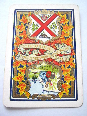 Antique Playing Cards 1 Single Swap Card Wide Montreal Quebec Armorial Canada