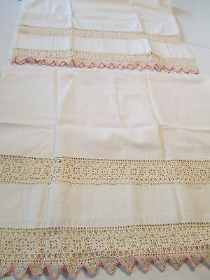 "Antique Pair White Pillow Cases Crochet 2"" Insert & 3"" Edge Trim Pink Cotton"