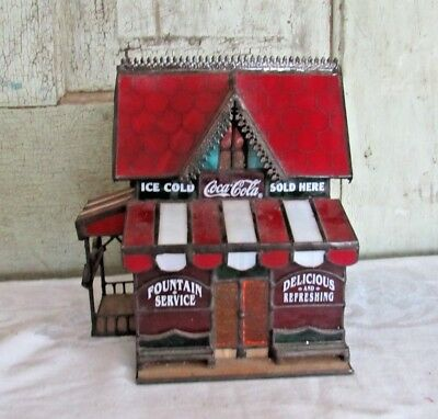 Coca Cola Coke Stained Glass Lighted Christmas House Corner Store Franklin Mint