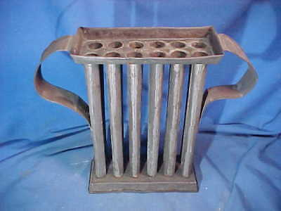 Early 19thc 12 TUBE Hand Crafted TIN CANDLE MOLD