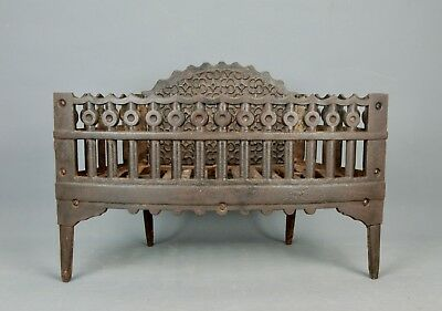 Antique cast Iron Fireplace Log Holder Coal Basket Grate The S.M. Howes Co 1900s