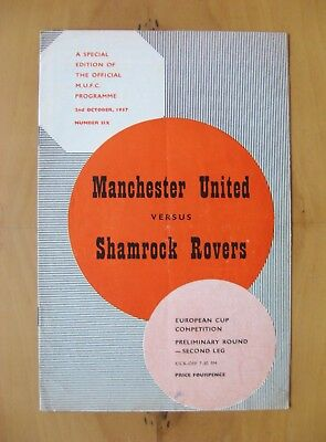 MANCHESTER UNITED v SHAMROCK ROVERS European Cup 1957/1958 *Good Cond - Munich*