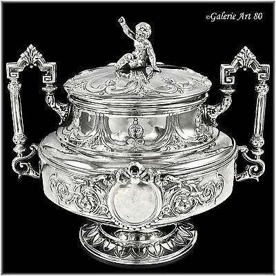FLAMANT Fils : Antique French Sterling Silver Sugar Bowl, PUTTI Figural Finial