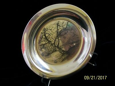 """James Wyeth """"Along The Brandywine"""" Sterling Silver Collector Plate 1972"""