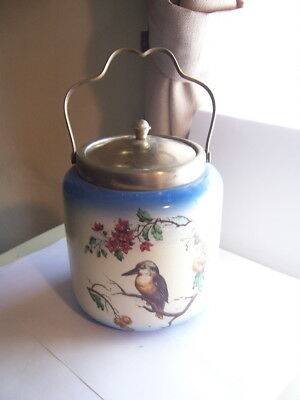 L & Sons Hanley England  Biscuit Jar EPNS Lid and Handle Kingfisher Bird