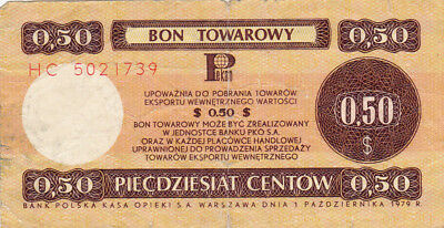 50 Cents Vg Foreign Exchange Note From Poland 1979!!