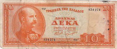 10 Drachmai Fine Banknote From 1954 Greece!pick-189!
