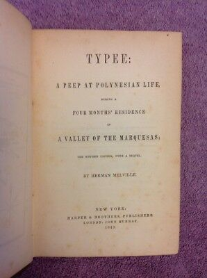 Herman Melville TYPEE - Revised ed. (1849) - VERY RARE & EARLY Issue of 1st Book