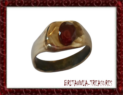 SUPERB 200-400 A.D ROMAN AE RING WITH 1.26ct REAL RUBY  , EXPERTLY POLISHED.