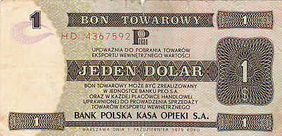 1 Dolar Vg-Fine Foreign Exchange Note From Poland 1979!!rare