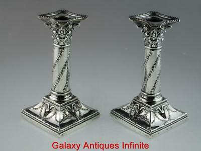 Antique Solid Silver Column Candlesticks  London Circa 1900