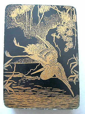 GOODALL LACQUER DESIGN ANTIQUE PLAYING CARDS 1890s STORK JAPONICA TREES WIDE