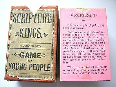 Scripture Kings Extremely Rare Antique Playing Card Game 90 Cards 1830 - 1840