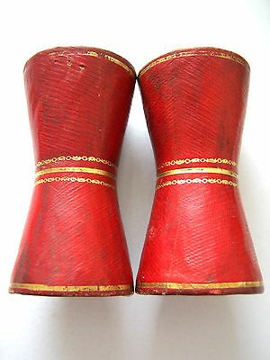 Morocco Leather Covered Antique Dice Cups Pair Of 1830 - 1870 Gilded Red Leather