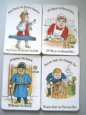FUNNY FAMILIES 1910s ROBERT BROS ANTIQUE PLAYING CARDS GAME 48 CARDS 1st EDITION