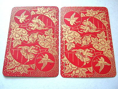 Goodall Red Lacquer Back Antique Bezique Playing Cards Boy Drum Crane 32+1J 1890