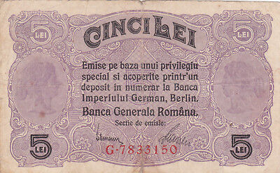 5 Leu Vg-Fine Banknote From German Occupied Romania 1917!pick-M5
