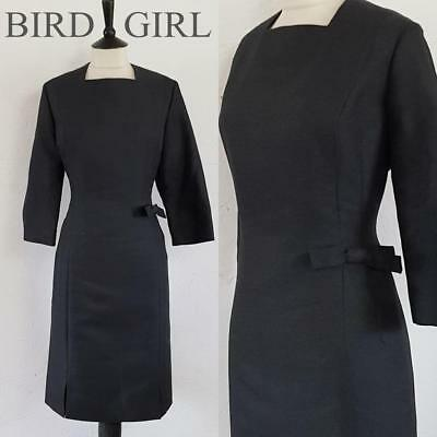 Bow Trim 1960S Vintage Grey Wool Classic Mod Scooter Wiggle Dress 16 L