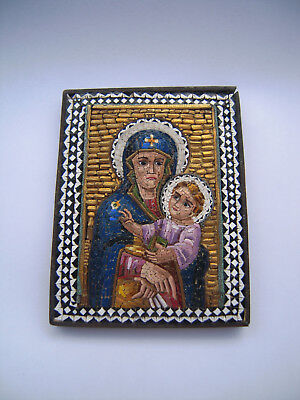 19c.Antique Italian Glass Micro Mosaic Icon - The Virgin Mary and the Child