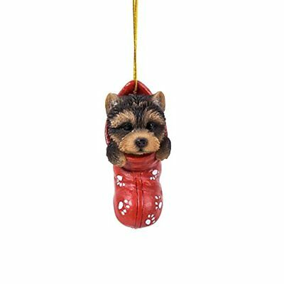 Yorkie Yorkshire Terrier Dog in Stocking Hanging Ornament Pet Pal Figurine
