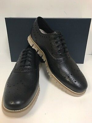 Cole Haan Zerogrand Wing Oxford C26324 Black Leather Closed Perf Men's - New
