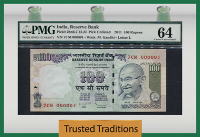 "Tt  2011 India 100 Rupees ""ghandi"" Remarkable Whopping  Exotic # 000001 Pmg 64 !"