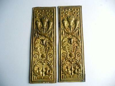 "Lovely Pair Antique Victorian Brass Push Plates, Door Finger Plates 3.25"" x 10"""