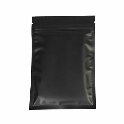 Flat Black Metallic Mylar Zip Lock Resealable Bags in Variety Quantities & Sizes