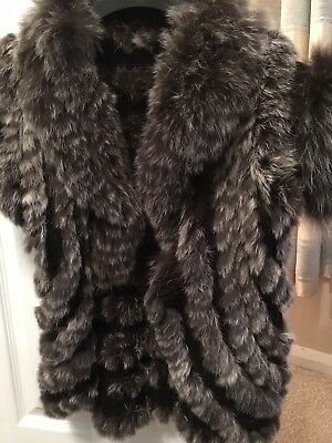 Fox/rabbit Fur Knitted Ladies gilet