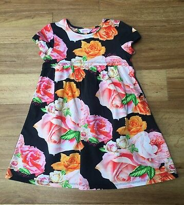 Gorgeous Girls Designer Ted Baker Floral Black Dress Age 6-7 Years.