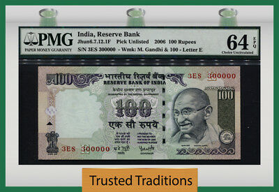 "Tt 2006 India 100 Rupees ""ghandi"" Special S/n# 300000 Pmg 64 Epq Choice Unc!"
