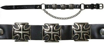 Two Maltese Iron Cross Leather Biker Western Boot Chains New
