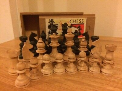 Set of K&C Ltd Wooden CHESS PIECES in Carry Box