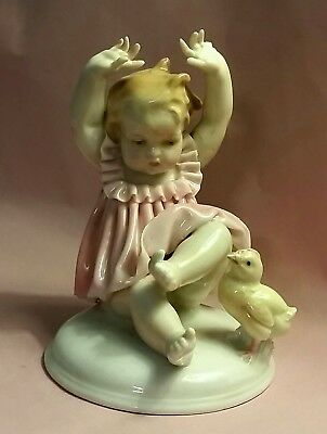 Antique/Vintage KARL ENS Germany PORCELAIN BABY with CHICK Mid Century Figurine