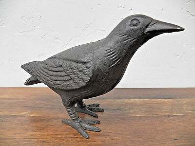 Primitive Large Life-Sized Decorative Black Cast Iron Raven Crow Bird