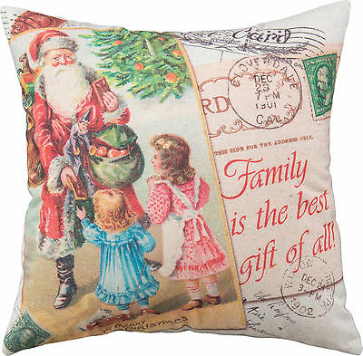 "Primitive By Kathy 16"" x 16"" Christmas Throw Pillow ""Family Is The Best Gift..."""