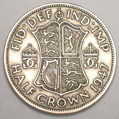 1947 UK Great Britain British Half 1/2 Crown George VI Arms Coin VF+