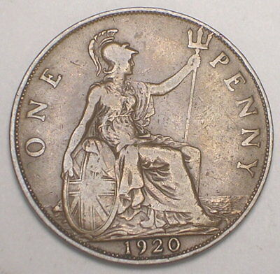1920 UK Great Britain British One 1 Penny King George V WWI Era Coin VF+