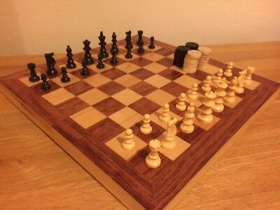 Set of Plastic CHESS PIECES with fold out wooden Board