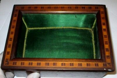 Early Wooden  Antique  Dresser Box Trinket Jewelry Box Inlaid Wood - Inlay